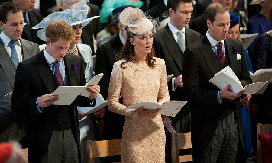 The Windsor trio in song! Harry, Kate and William sung hymns at a 2012 service of thanksgiving marking the Queen's Diamond Jubilee at St Paul's Cathedral.