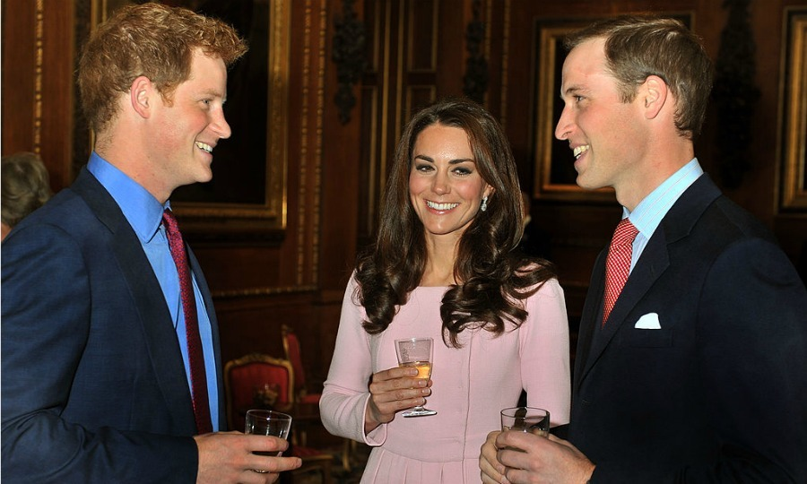 Every hour is a happy one with this squad. The Princes and Kate sipped on beverages during a reception prior to the 2012 Lunch For Sovereign Monarchs at Windsor Castle.