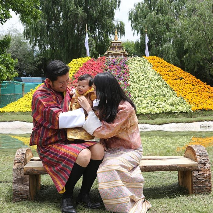 The royal cutie showed off his new giggling skills as he posed with his parents at the 2nd Royal Bhutan Flower Exhibition in June.