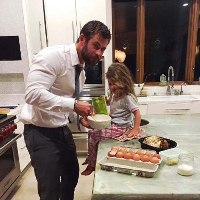 How about a late-night snack with dad? Foregoing the after party, Chris decided he would rather hang out with his daughter India Rose than with celebrities after his <i>The Huntsman: Winter's War</i> premiere in LA.