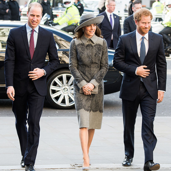 The Cambridges and Harry were in sync and styling, while attending the Commonwealth Observance Day service in 2016 to celebrate the Queen's 90th birthday. 