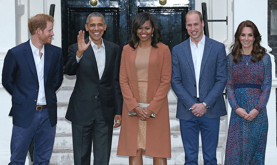The royals excel at both friendly and foreign relations. Harry, William and Kate welcomed President Barack Obama and First Lady Michelle Obama to a dinner at their home in Kensington Palace in 2016.