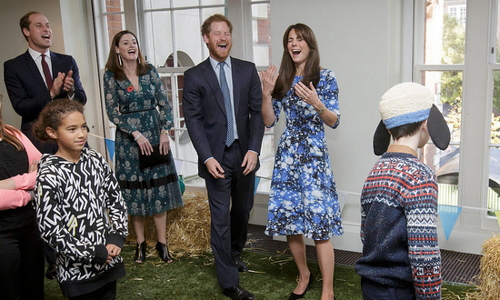 "Will, Harry and Kate laughed it up as they participated in ""welly wanting"" with children and representatives from charities and Aardman Animations, during a meeting of the Charities Forum at BAFTA in 2015.