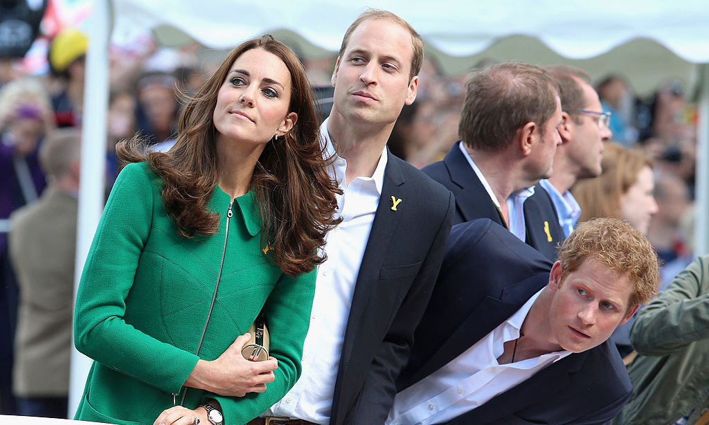 The Duke and Duchess along with Harry watched cyclists cross the finish line of the first stage of the 2014 Tour De France.