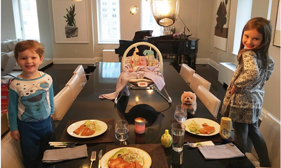 Table for four! #dinnerdates. That's how the proud mom captioned this great shot of her little ones all set for a meal at home. Little Theodore isn't just at the head of the table – he's actually on it!