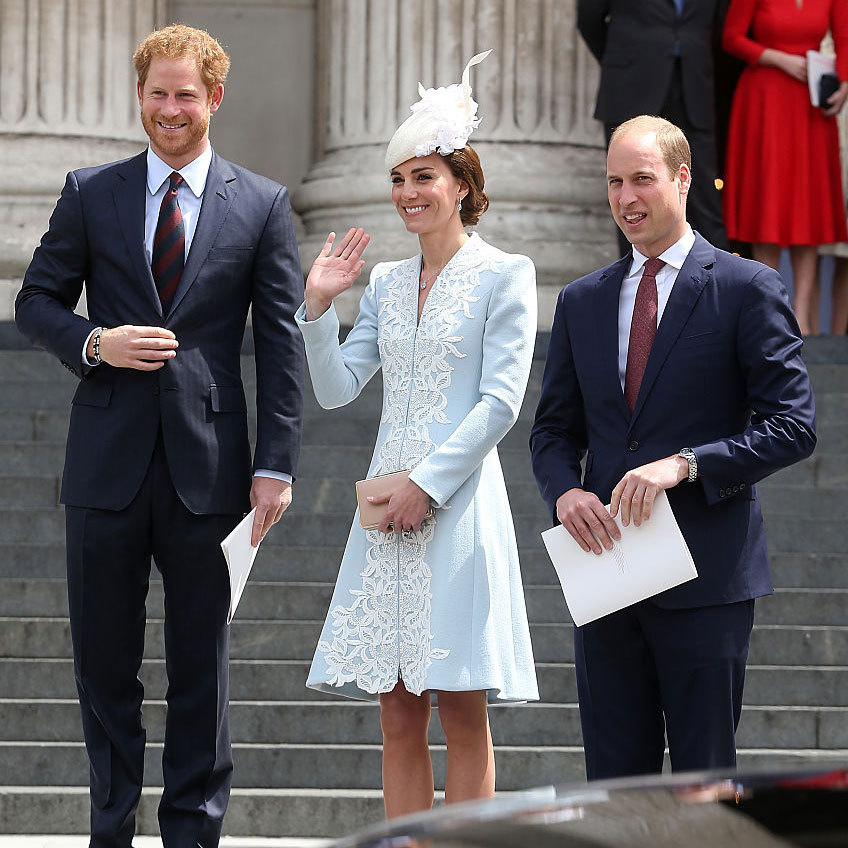 The trio was dressed to the nines attending the annual National Service of Thanksgiving in celebration of the Queen's birthday on June 10, 2016.