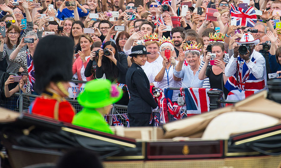 Thousands of well-wishers lined the Mall in London to wave to the Queen and her husband Prince Philip.