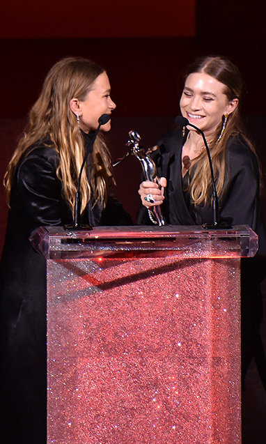 Jointly accepting the award for Womenswear Designer of the Year during the 2015 CFDA Fashion Awards in NYC. 