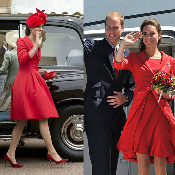 Red for any occasion! Kate recycled this Catherine Walker number for her appearance at the Order of the Garter service at Windsor Castle on June 13, 2016 (left). The Duchess was previously seen wearing the ensemble five years ago during the final day of her royal tour of Canada in 2011 with Prince William. 