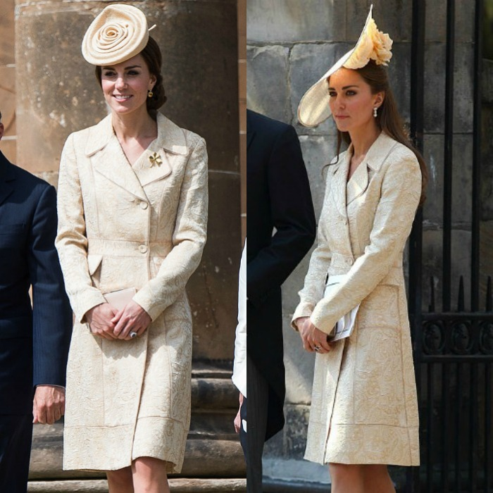 Kate Middleton made a sunny appearance at the Secretary of State for Northern Ireland's garden party on June 14, recycling her gold brocade coat dress by DAY Birger et Mikkelsen for the occasion. The stylish royal previously wore the feminine piece to Zara Phillips and Mike Tindall's wedding back in 2011, however for the garden event, Prince George's mom paired the lovely coat with a rose pill-box hat from Lock Hatters.