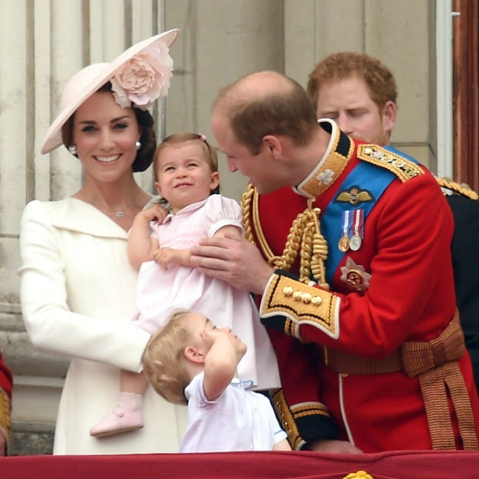 The Duke managed to get a smile from his daughter as she made her balcony debut at the 2016 Trooping the Colour.