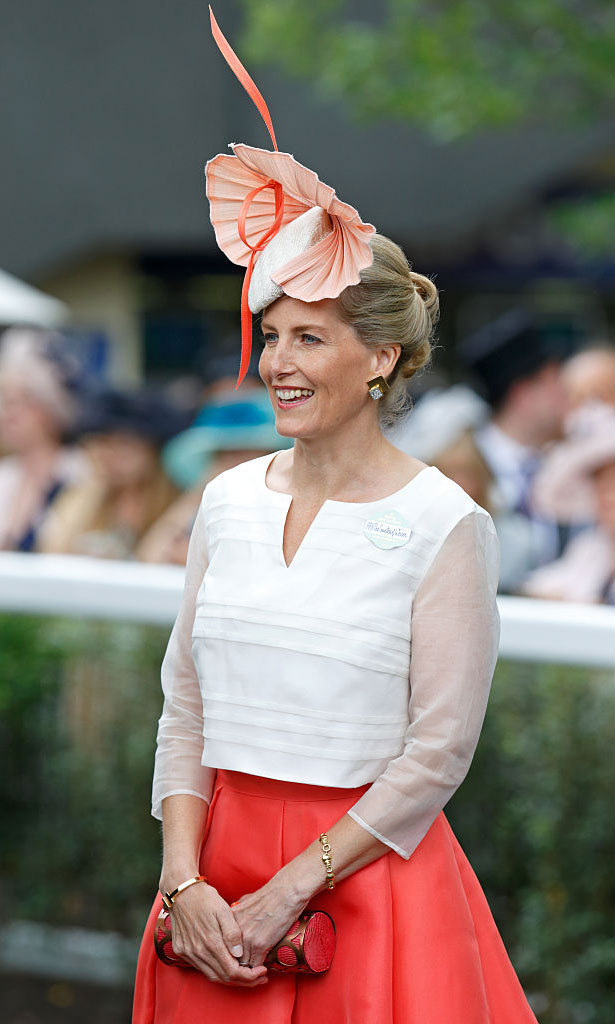 "Sophie, Countess of Wessex looked lovely in an ivory and coral number for ""Ladies Day"" at the Royal Ascot. 