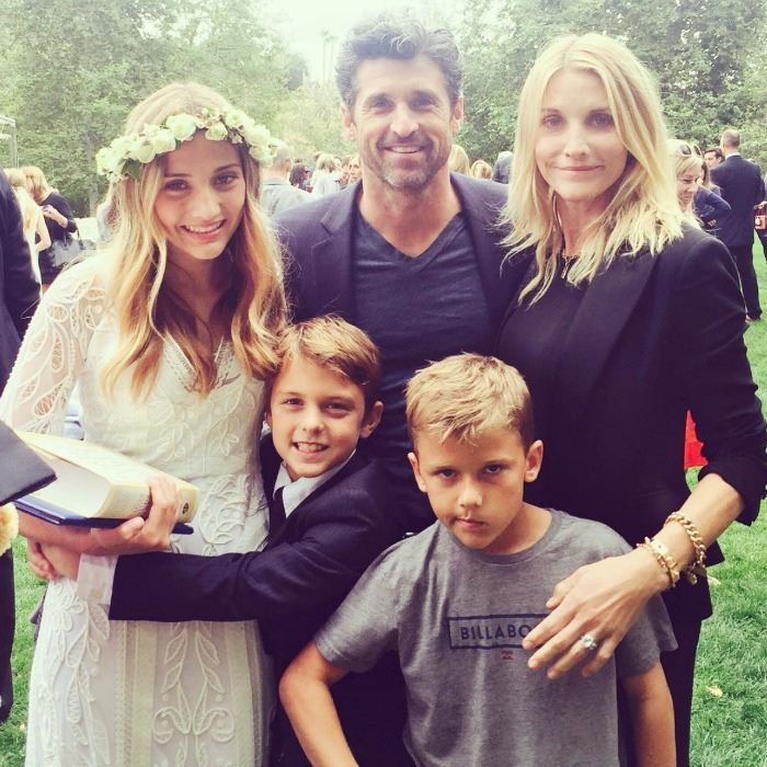 Patrick Dempsey, who recently revealed that he and wife Jillian Fink had reconciled after splitting in 2015, attended their daughter Talula's eight grade graduation from St. Matthew's Parish School with the makeup artist and their twin boys Darby and Sullivan.