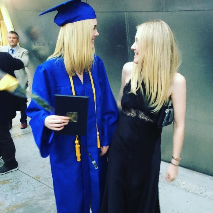 Sisterly love! Actress Dakota Fanning came out to the Walt Disney Music Hall to support her younger sister Elle Fanning on her high school graduation day.