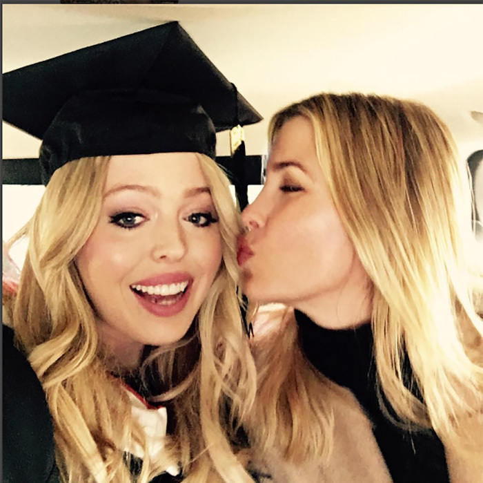 Kisses for the grad! Ivanka Trump planted a kiss on younger sister Tiffany who graduated from University of Pennsylvania. 