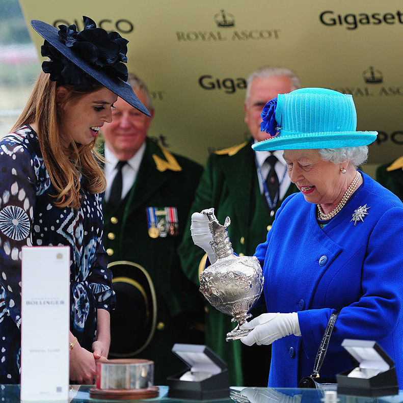 Princess Beatrice presented her grandmother, Queen Elizabeth, with the Hardwicke Stakes trophy after her horse Dartmouth won.
