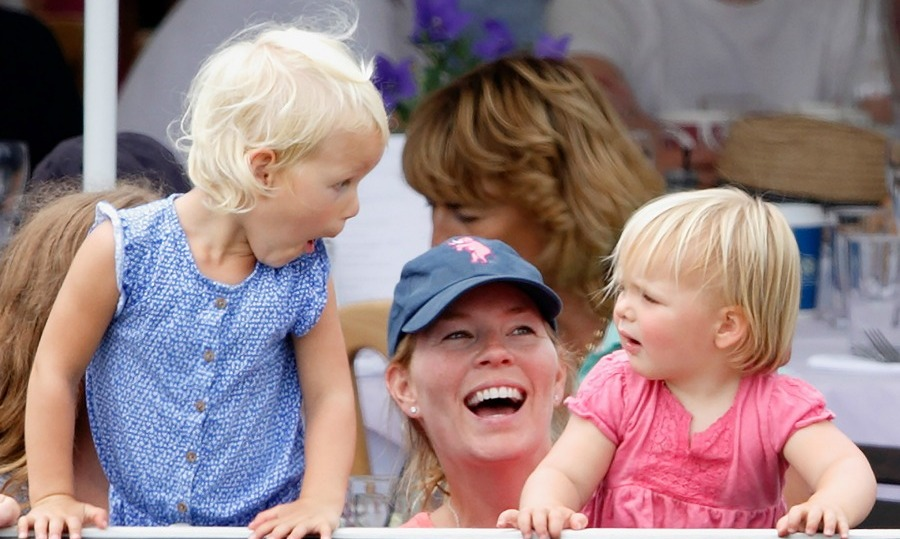 Mia looked on as  her cousin Isla  Phillips sent some funny faces her way during the Festival of British Eventing.