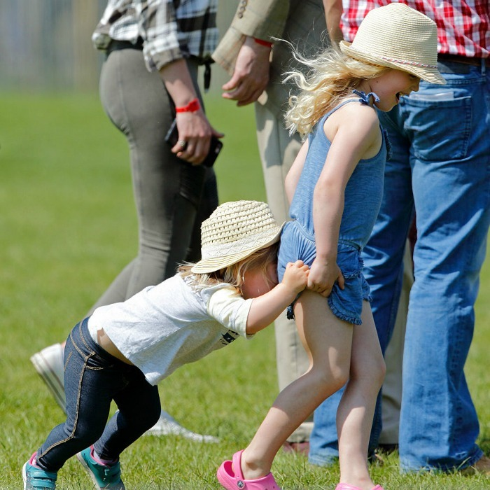 May 2016: Just <i>horsing</i> around! Mia Tindall played with her older cousin Savannah Phillips at the Badminton Horse Trials.