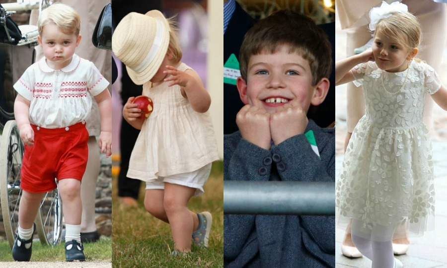 Whether it's Prince George's adorable appearance at his sister's christening or Princess Estelle of Sweden peeking out from under her oversized umbrella at her mom's birthday celebration, the world's little Princes and Princesses never fail to steal the show. Here are some of our fave highlights!