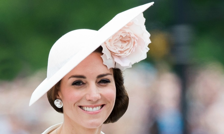 During the Trouping of the Colour parade, Kate wore a custom made pink Philip Tracey topper with a large flower detail. 