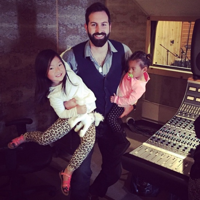 Josh had a little help in the studio from Naleigh and  Adalaide.
