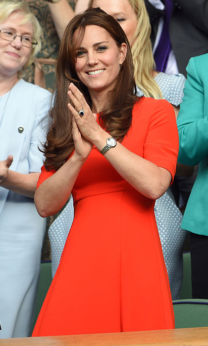 Kate Middleton was the lady in red in 2015 wearing an L.K. Bennett dress that featured a full skirt and elbow length sleeves. The Duchess completed her polished look sporting her signature bouncy blowout. The royal mom-of-two attended the match less than three months after welcoming her daughter Princess Charlotte.  