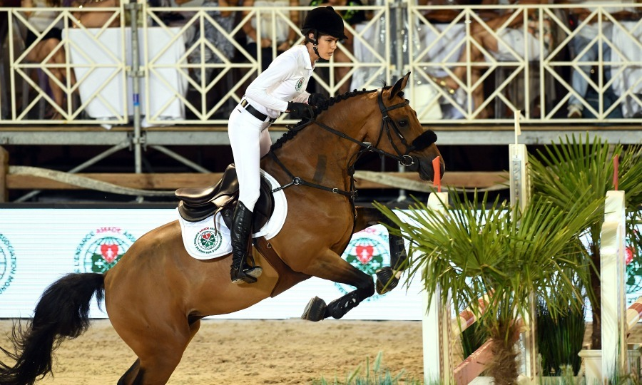 Charlotte Casiraghi rode during the Longines Global Champions Tour of Monaco.