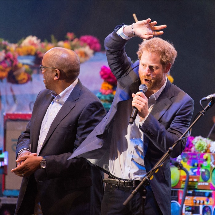"<a href=""http://us.hellomagazine.com/tags/1/prince-harry/""><strong>Prince Harry</strong></a> took the stage with Coldplay during their set at the Sentebale concert at Kensington Palace. The Prince hosted over 3,000 guests for the evening to raise awareness for vulnerable children in Africa. 