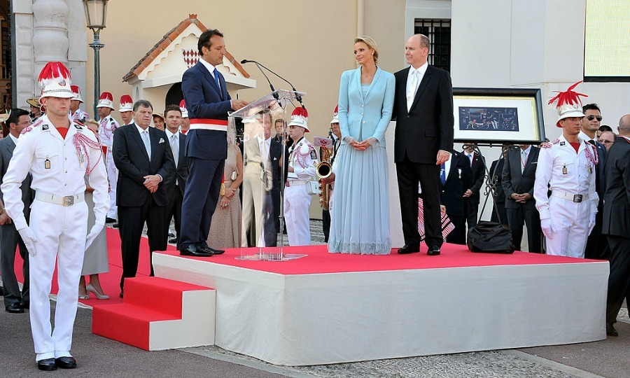 Mayor of Monaco Georges Marsan delivered a speech following the couple's civil ceremony.