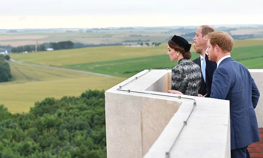 It's a long way down! The royals peered over the ledge, while visiting the Thiepval Memorial for the Somme Centenary commemorations in Albert, France.
