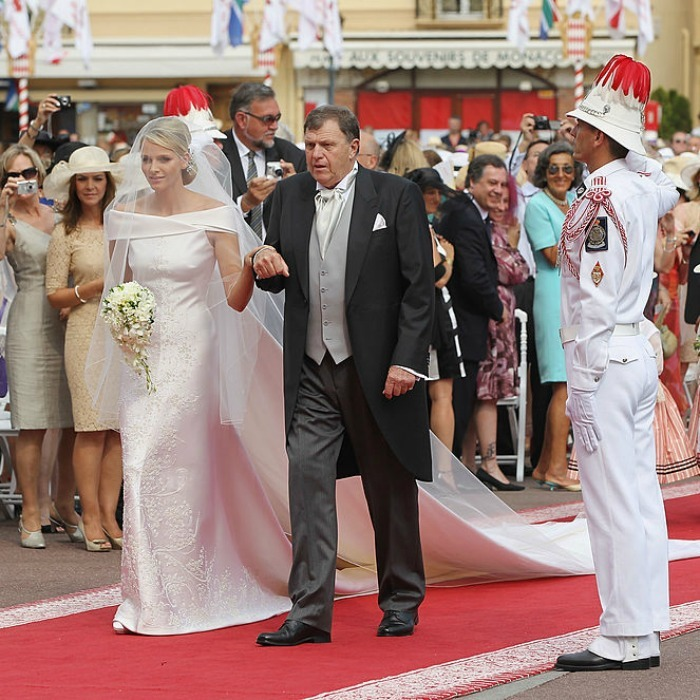The stunning bride was escorted down the red carpet at the religious ceremony by her father, Michael Kenneth Wittstock.