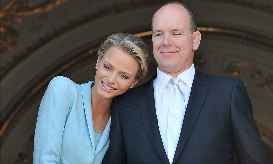 The blushing bride! Charlene beamed on the balcony beside her husband Prince Albert after their legal wedding ceremony on July 1.