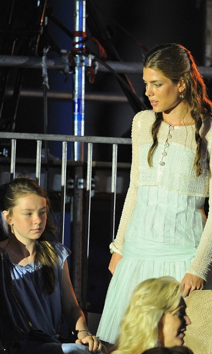 Princess Alexandra kept close to her older sister Charlotte Casiraghi during the Jean Michel Jarre concert at the Port of Monaco.