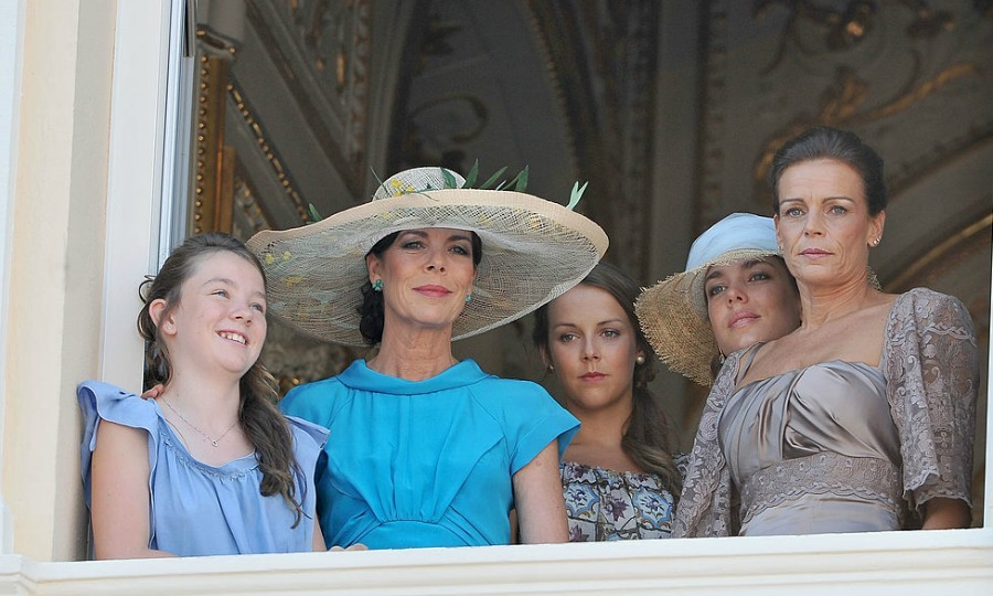 Princess Alexandra and her mother Princess Caroline gathered on the balcony with Pauline Ducruet, Charlotte Casiraghi and Princess Stephanie.