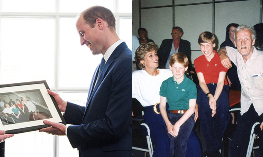 As her sons carry out their royal duties, thoughts of their devoted mom are likely never far behind, for both the royals and the people they meet who knew Diana.  Here, Prince William flashes a smile when he's given a very special photo during a 2016 visit to The Passage homeless charity in London. The picture, right, depicted his previous visit – some 23 years ago with his mom and little brother Harry.