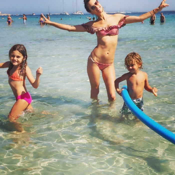 Alessandra Ambrosio with her children Anja and Noah Mazur