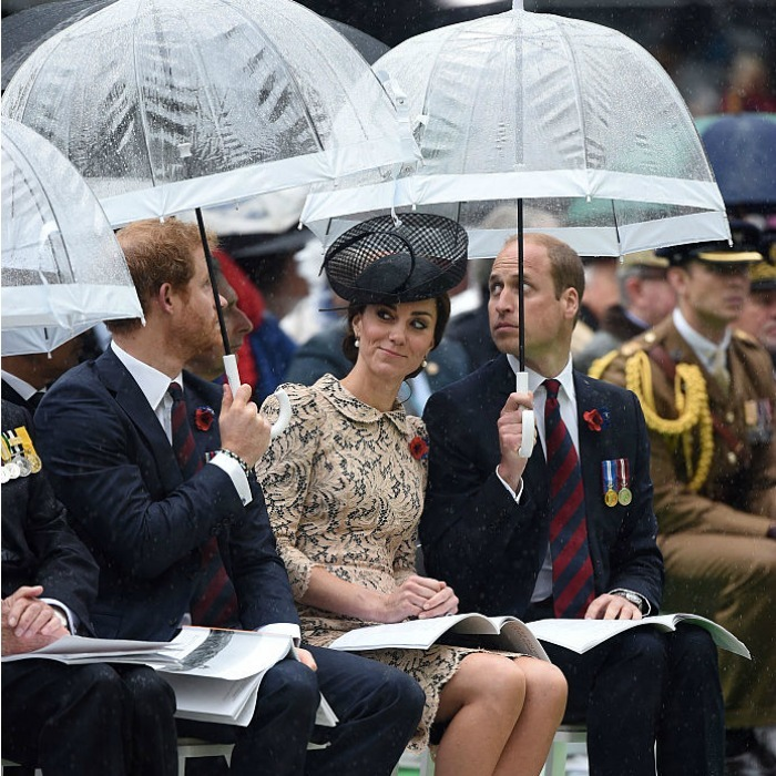 What's Harry up to?! Kate gave her brother-in-law a suspicious look as he and William shielded the Duchess from the rain during their visit to the Thiepval Memorial in France.