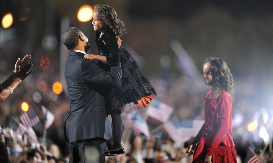 President Obama lifted Sasha in the air upon receiving the news that he would take office.