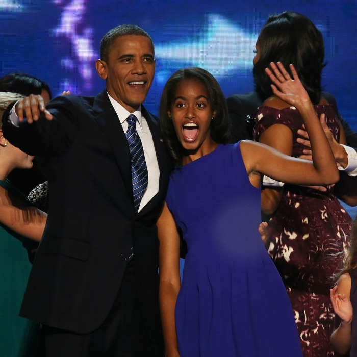 Malia couldn't hold back her excitement at the Democratic National Convention after finding out that her dad officially secured the ballot for the democratic ticket. 