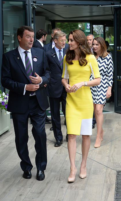Princess Charlotte's mom rewore a yellow Roksanda Ilincic dress for her appearance at Wimbledon on Thursday.