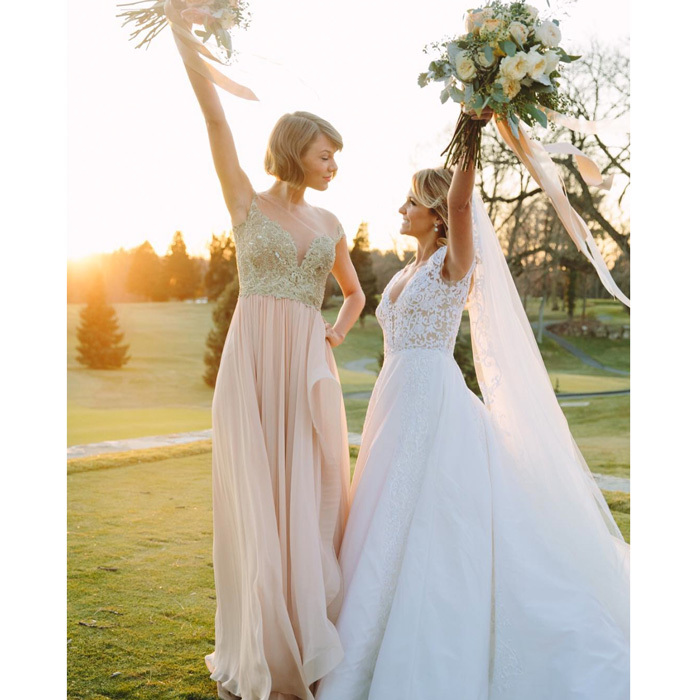 "<a href=""http://us.hellomagazine.com/tags/1/taylor-swift"" target=""_blank"" style=""font-weight: bold;"">Taylor Swift</a> was a part of her childhood friend Britany Maack and Benjamin LaManna's love story, serving as the stunning maid of honor, wearing a custom blush Reem Acra gown.