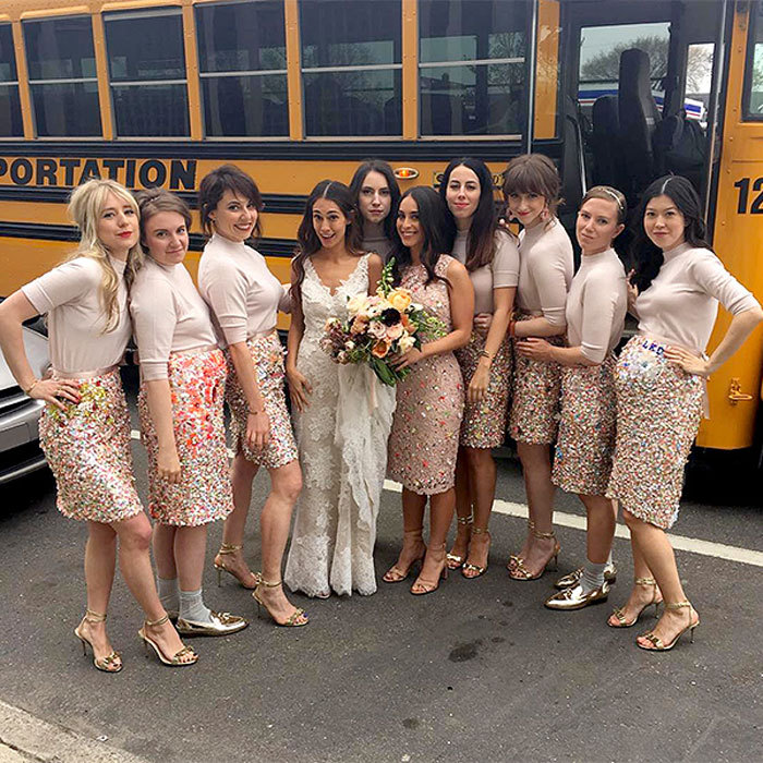 "<a href=""http://us.hellomagazine.com/tags/1/lena-dunham"" target=""_blank"" style=""font-weight: bold;"">Lena Dunham</a> sparkled alongside her fellow bridesmaids at pal Audrey Gelman's nuptials in May 2016. The <i>Girls</i> star shared a photo of the wedding party's J.Crew ensembles writing, ""What happens when @jcrew goddess Jenna Lyons lets a bunch of crazy bitches customize their skirts... here we go #gomezandmorticia.""