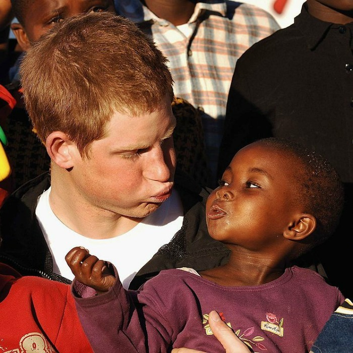 Prince Harry clowned around with Lintle at the Mants'ase Children's Home, while visiting Africa in 2006 to launch his charity Sentebale.