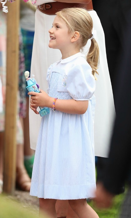 July 2016: She's not <i>letting go</i> of that toy. Estelle paraded around her mother's birthday festivities carrying around an Elsa doll from Disney's animated film <i>Frozen</i>.