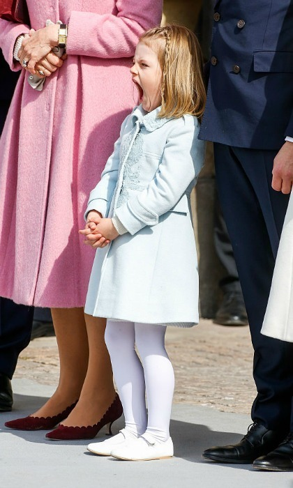 April 2016: Estelle let out a yawn at the Swedish Armed Forces for her grandfather King Carl Gustaf's 70th birthday.