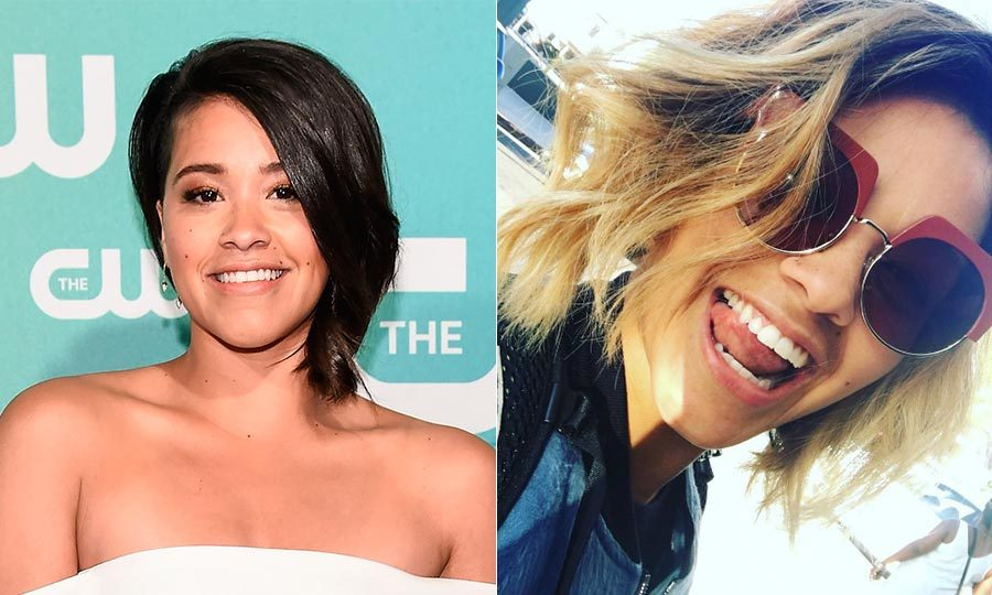 <b>Gina Rodriguez</b> flipped over to the light side! She added honey-colored highlightsto her choppy bob.