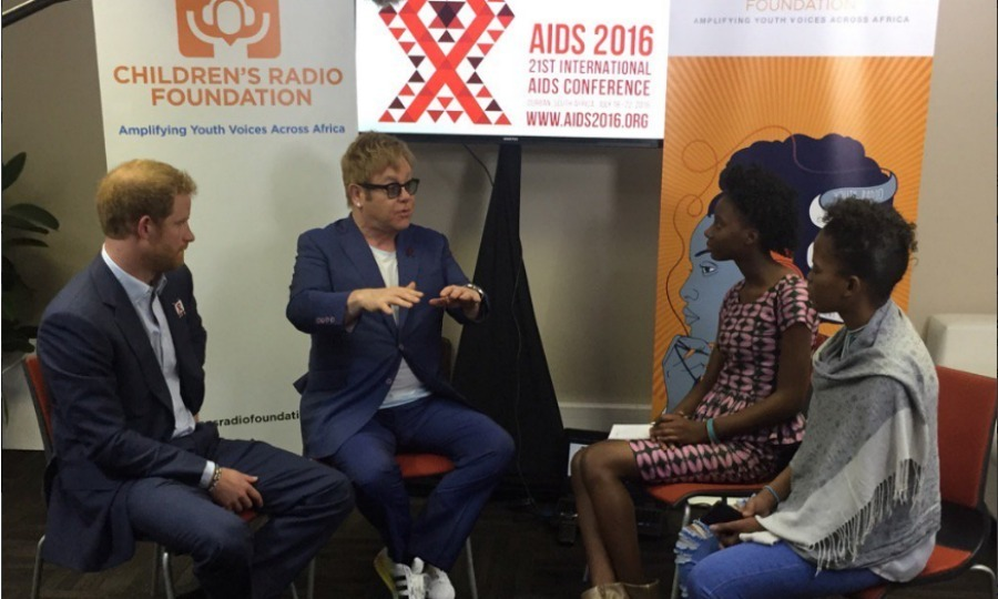 "<a href=""http://us.hellomagazine.com/tags/1/prince-harry/""><strong>Prince Harry</strong></a> and Sir Elton John were interviewed by Children's Radio Foundation reporters during the International Aids Conference in South Africa. 
