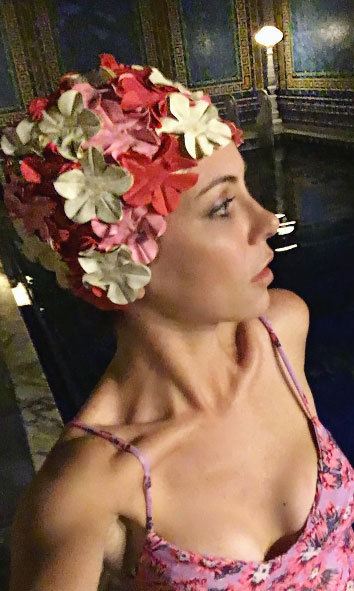 "Michele Morrow: ""This adorable vintage swimcap, courtesy of the bride, ended up perfectly matching my new @toripraverswimwear #swimsuit! #Hearstwick""