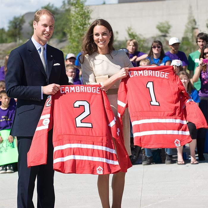After taking part in the street game, the Prince and his wife were presented with personalized hockey jerseys to commemorate their visit to the Somba K'e Civic Plaza in Yellowknife.