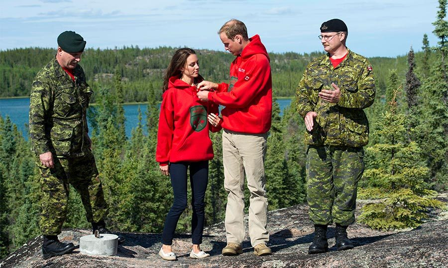 The newlyweds looked absolutely adorable as they put on matching sweatshirts at Blatchford Lake. The royal couple was given Canadian Rangers sweaters after being made honorary members of the Northwest Territories rescue team. 